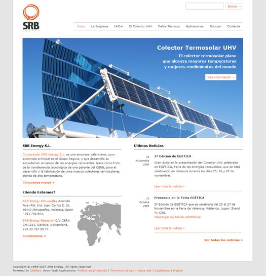 Captura de pantalla de la web SRB Energy S.L.