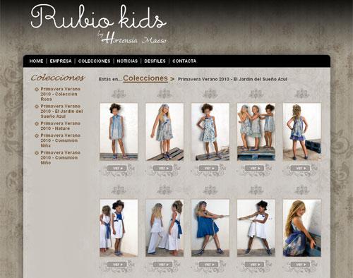 Captura de pantalla de la web de Rubio kids