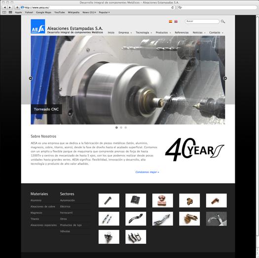 Captura de pantalla de la web de Aesa